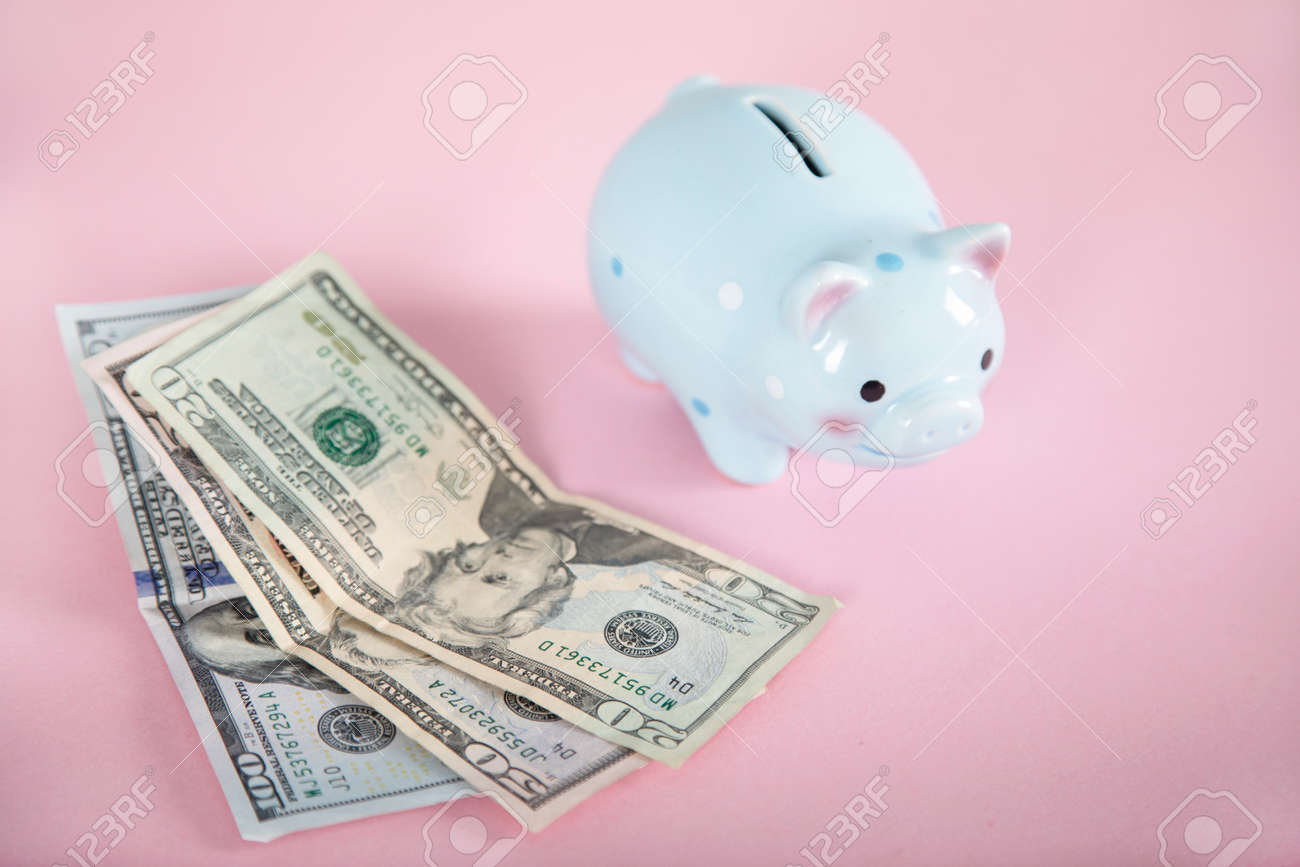 money with piggy bank on the pink background - 169135351