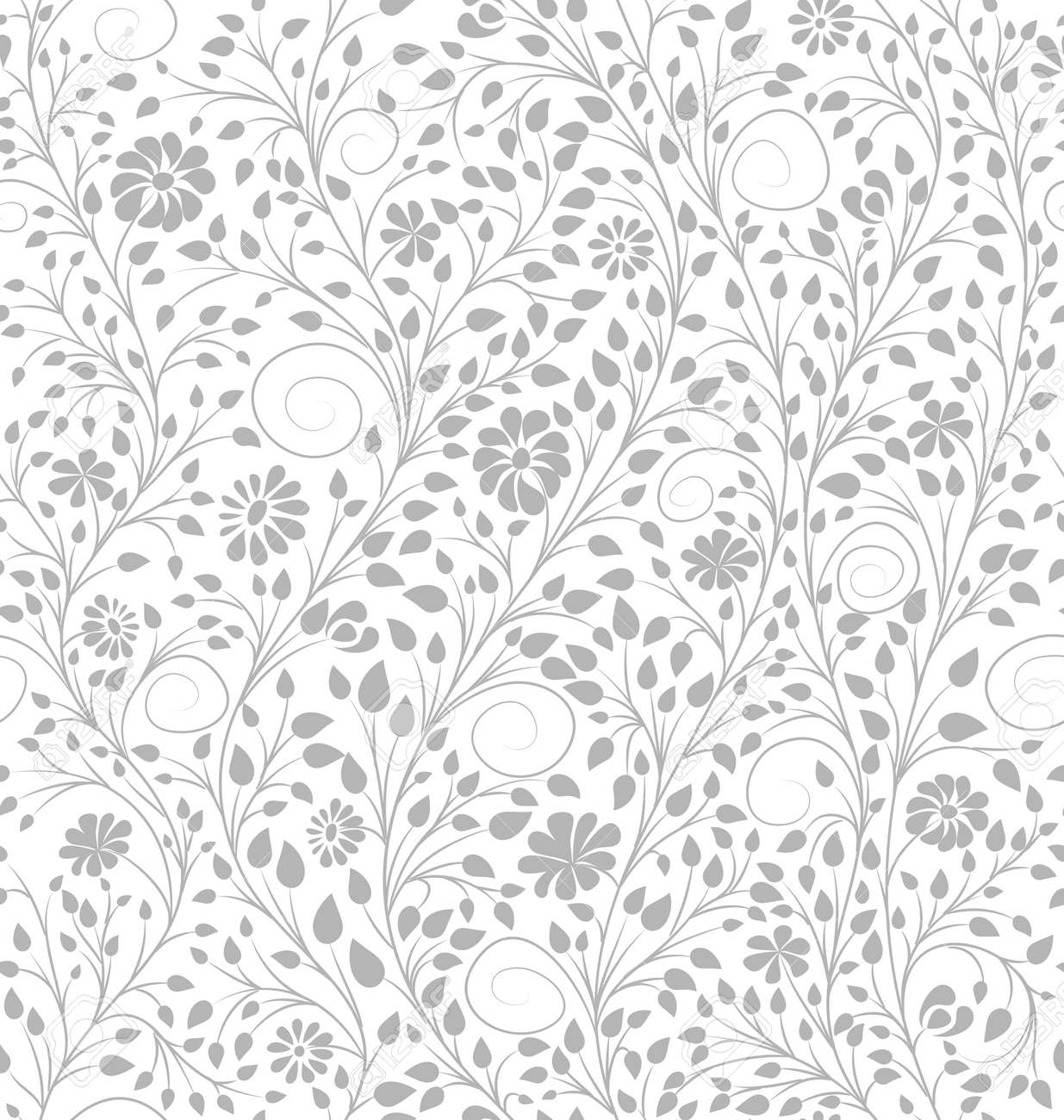 White Floral Background Vector Seamless Pattern Simple Leaves