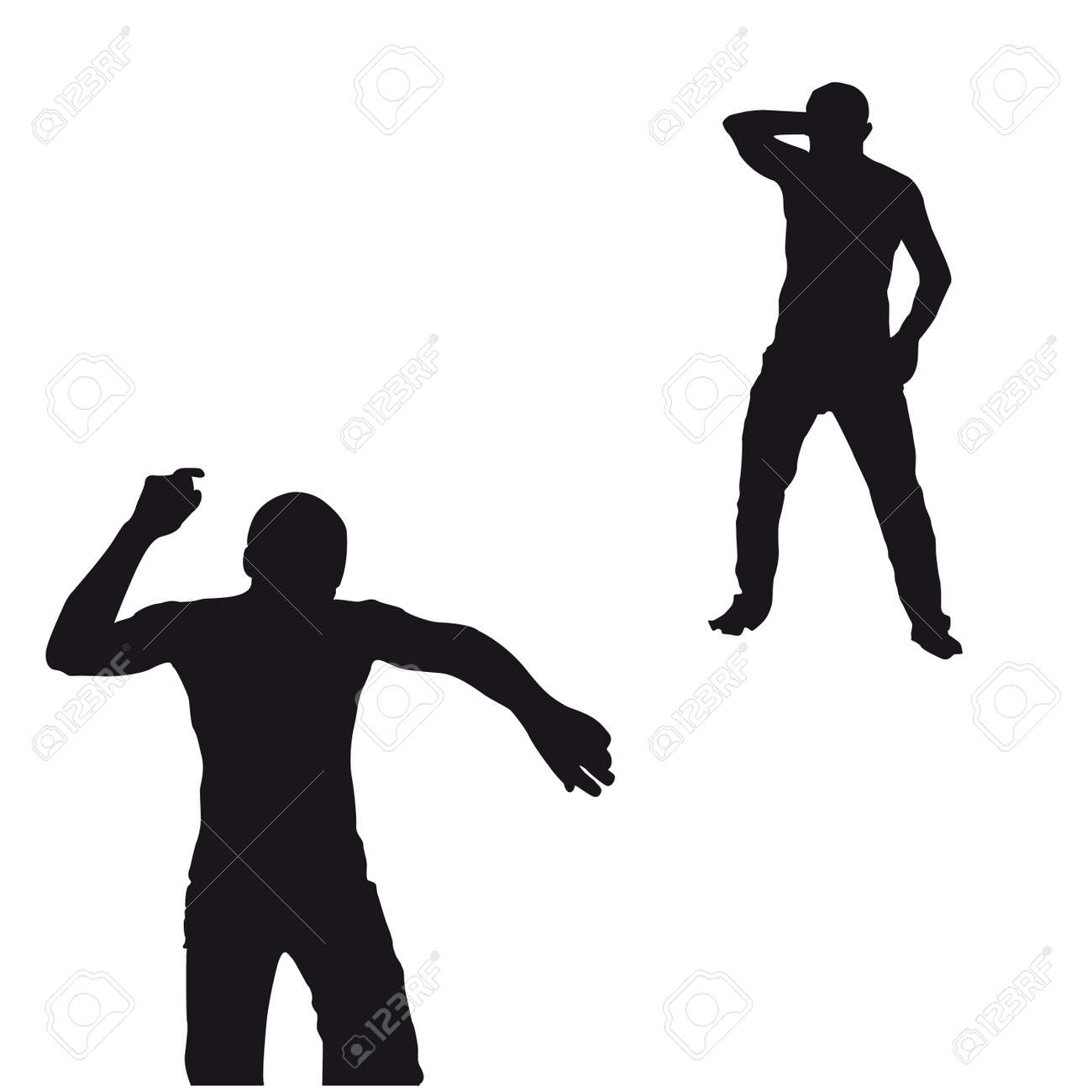 Two black men dancing silhouette on white background Stock Vector - 15603016