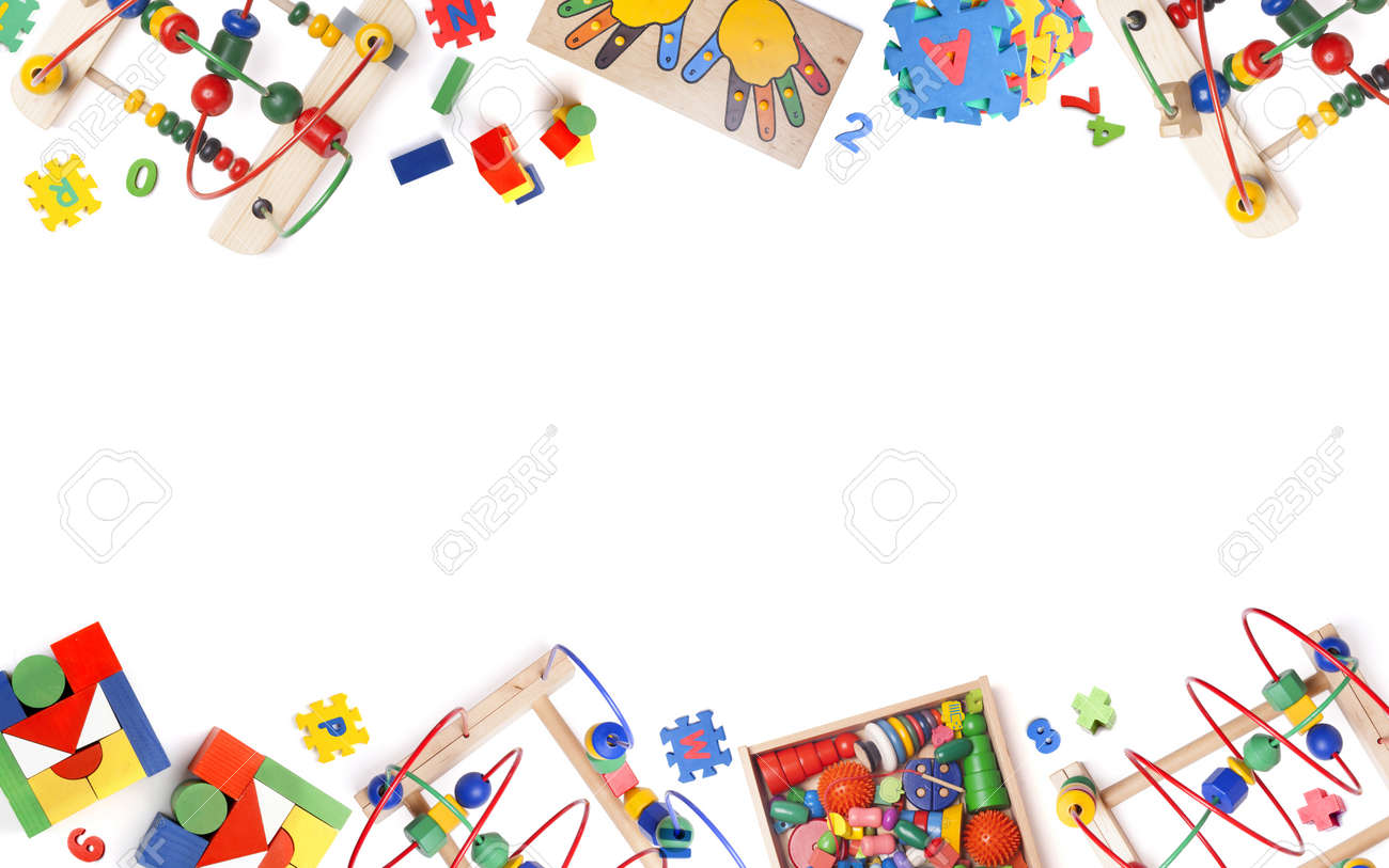 Color Toys Border On The While Background Stock Photo Picture And