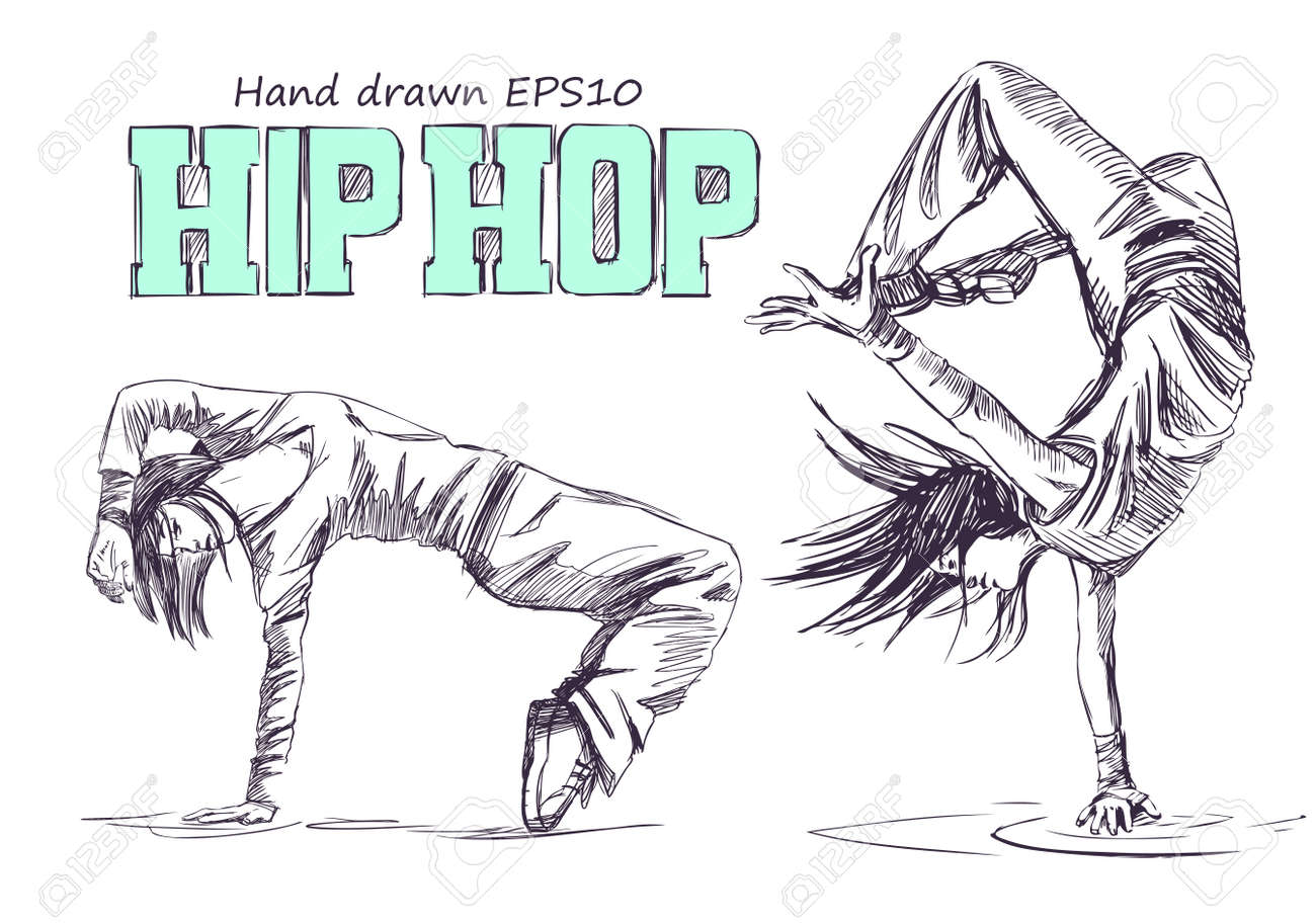 Hip Hop Dancer Young Girls Hand Drawn Vector Illustration Isolated