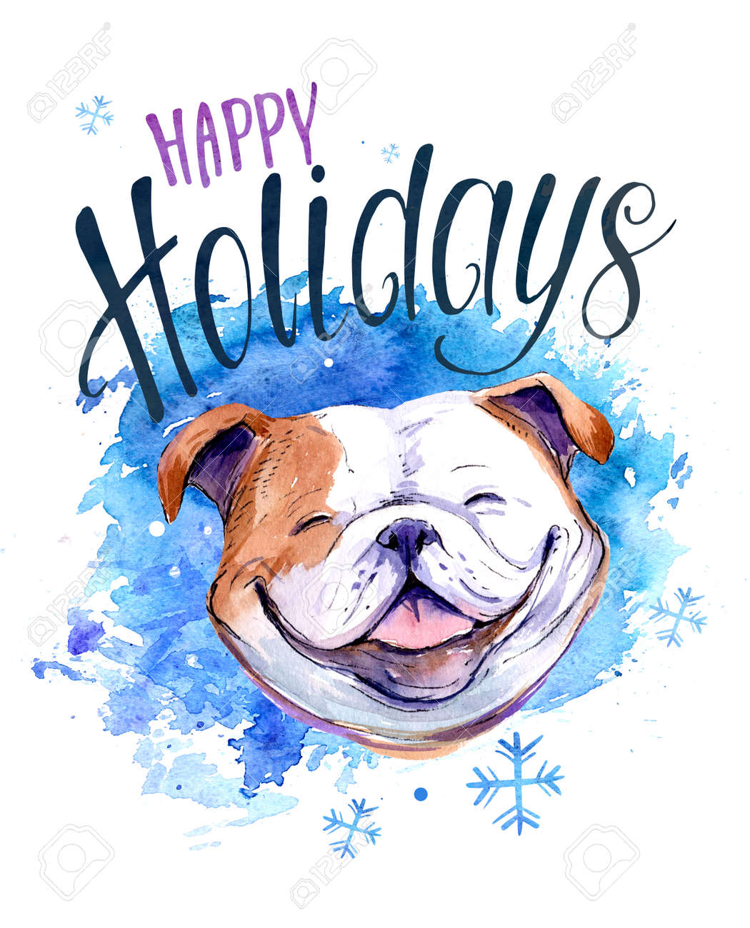 Christmas Card With Bulldog. Watercolor Hnd Drawn Illustration Stock ...