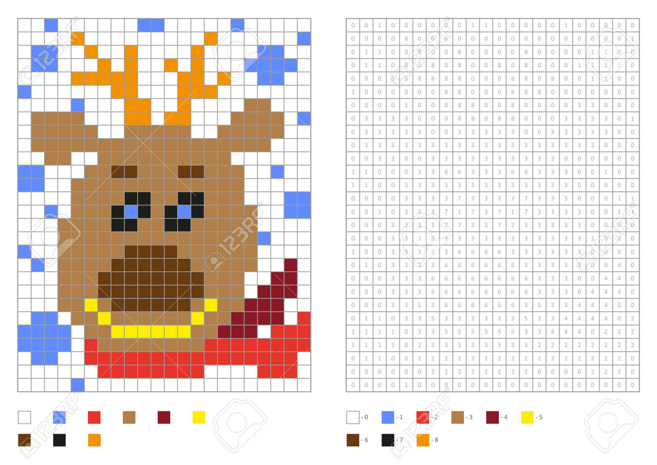 Kids Coloring Page Pixel Coloring With Funny Christmas Deer