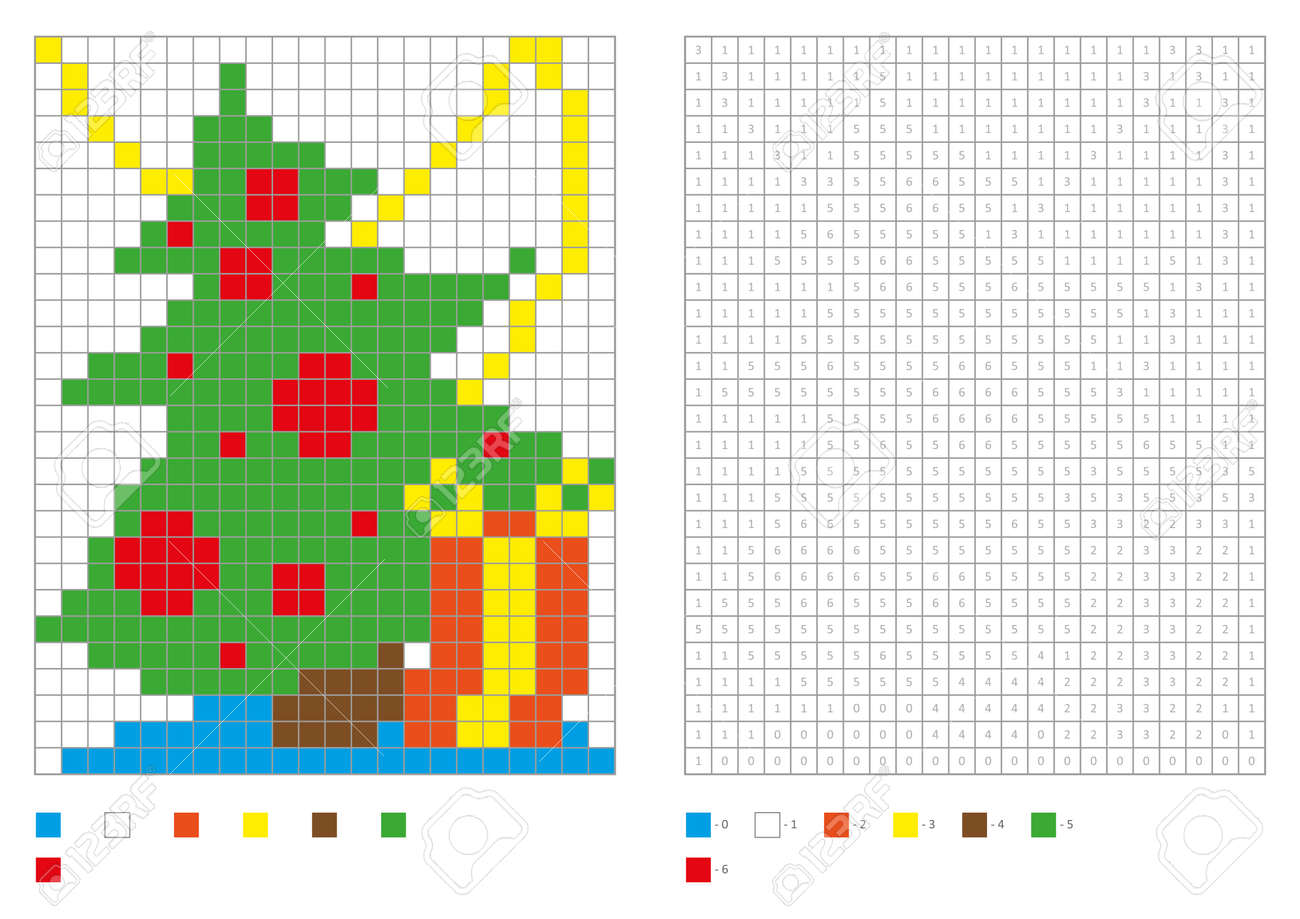 Kids Coloring Page, Pixel Coloring With Funny Christmas Tree ...