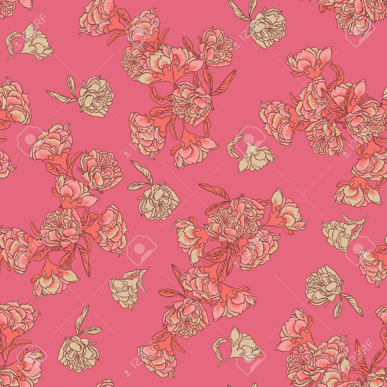 Seamless Vector Floral Texture Chinoiserie Pattern Background