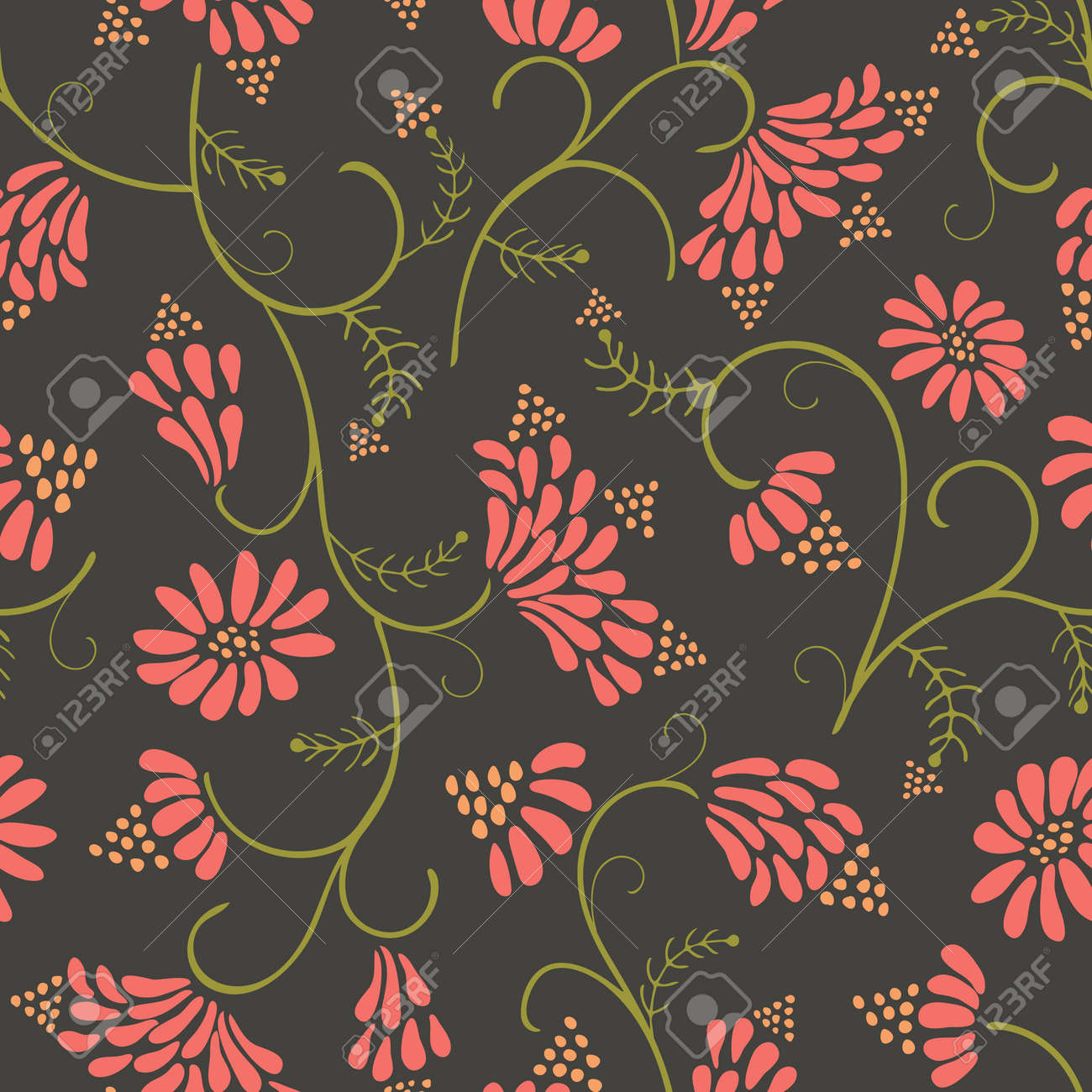 Beautiful Pink Wild Flowers With Leaves On Dark Green Background