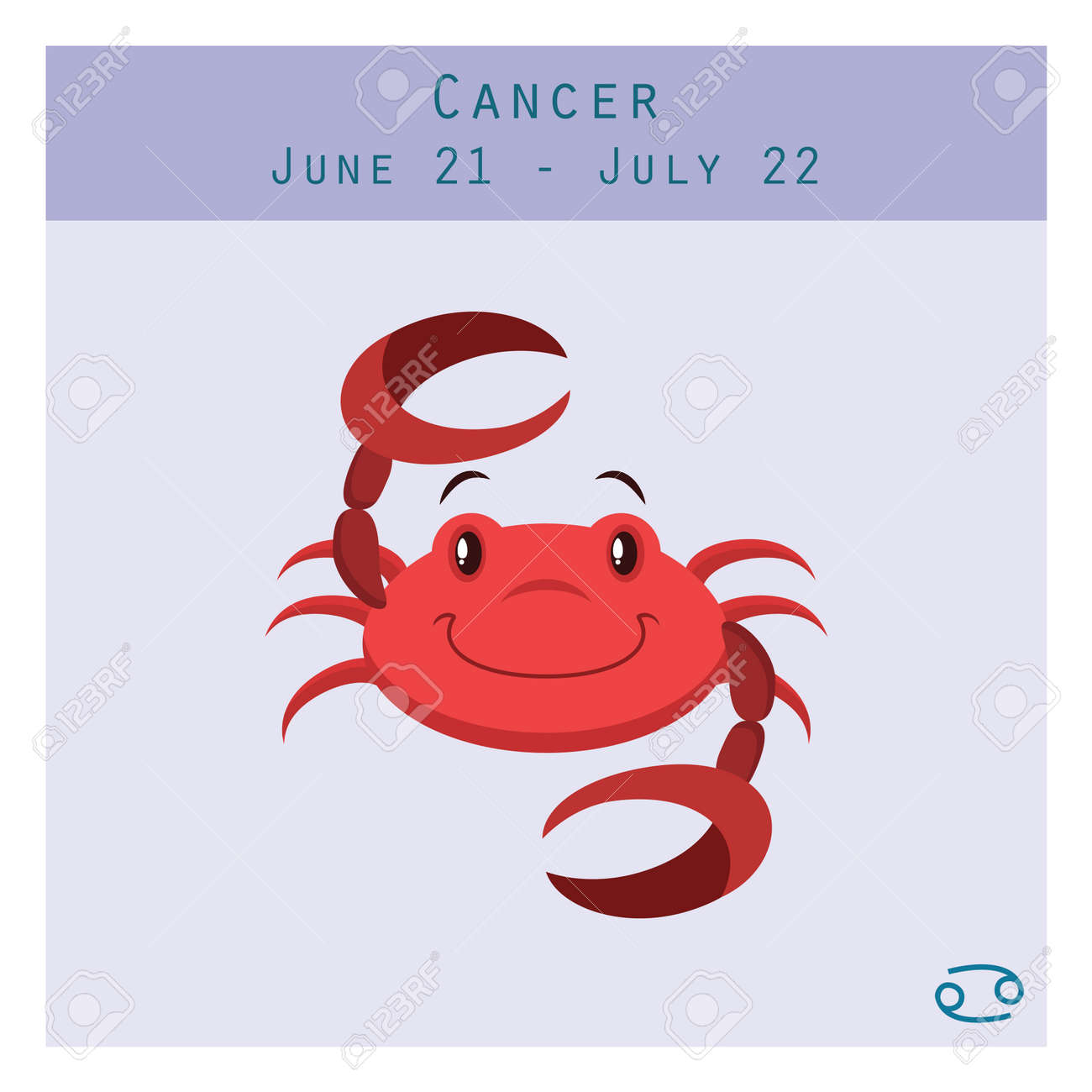Cartoon cancer zodiac sign with duration and symbol in lower cartoon cancer zodiac sign with duration and symbol in lower corner stock vector 61146057 biocorpaavc Gallery