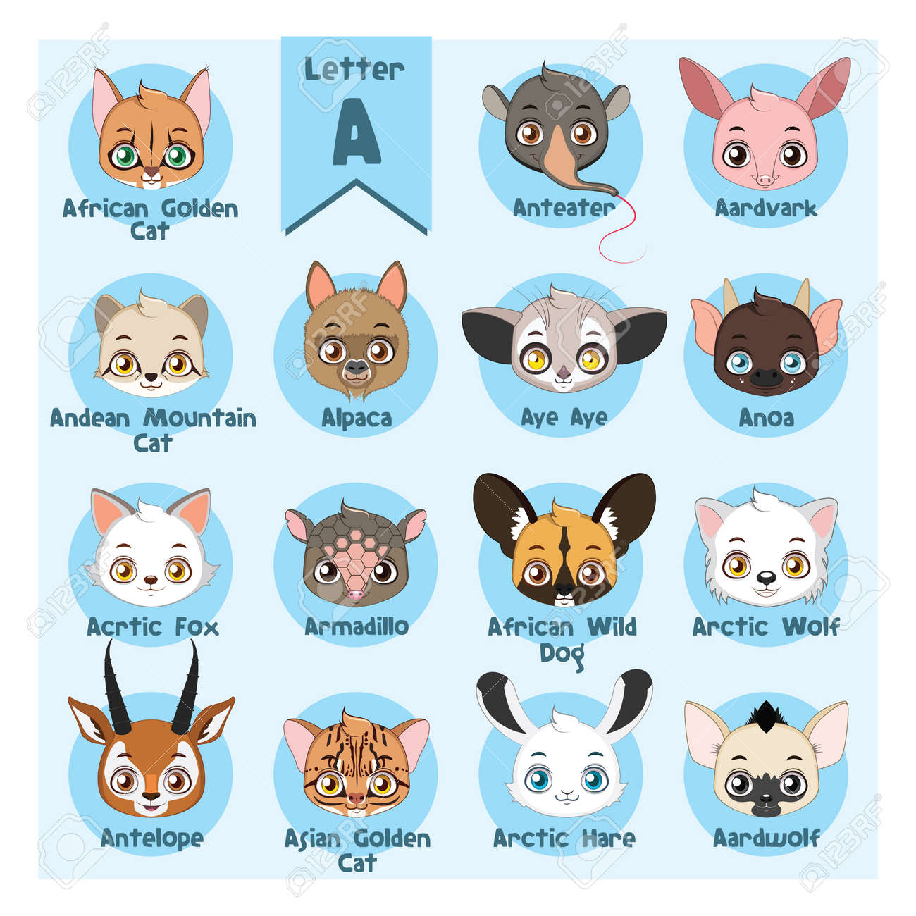 Animal Portrait Alphabet   Letter A Royalty Free Cliparts, Vectors