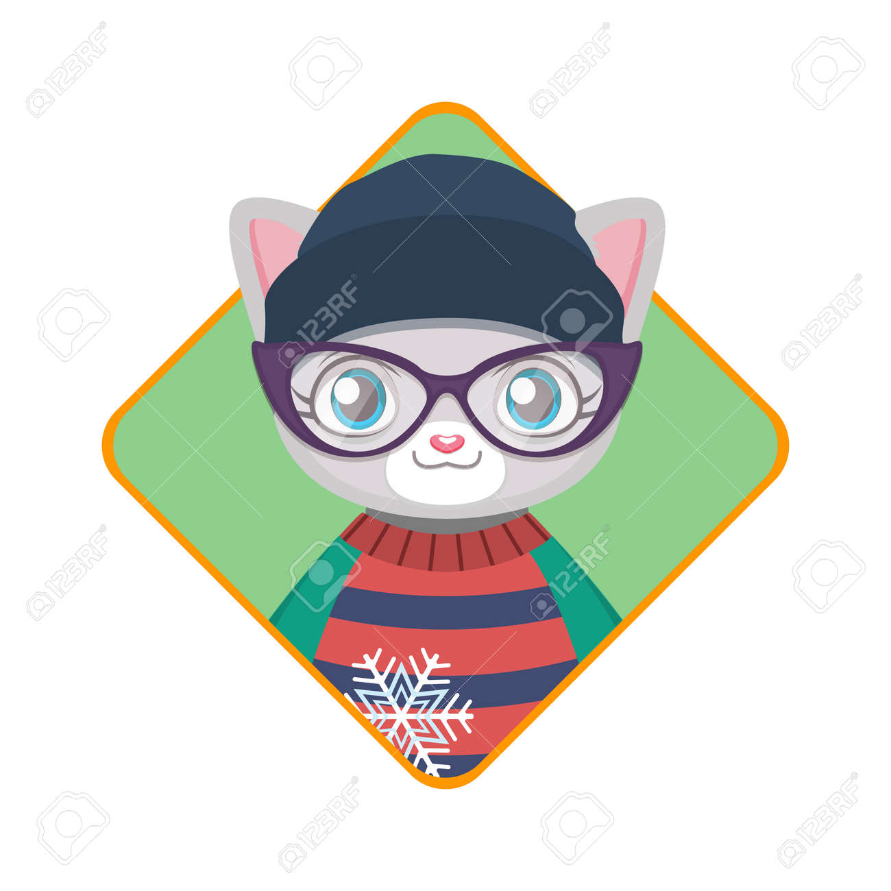 Badge Of A Cute Hipster Kitty With An Ugly Christmas Sweater Royalty ...