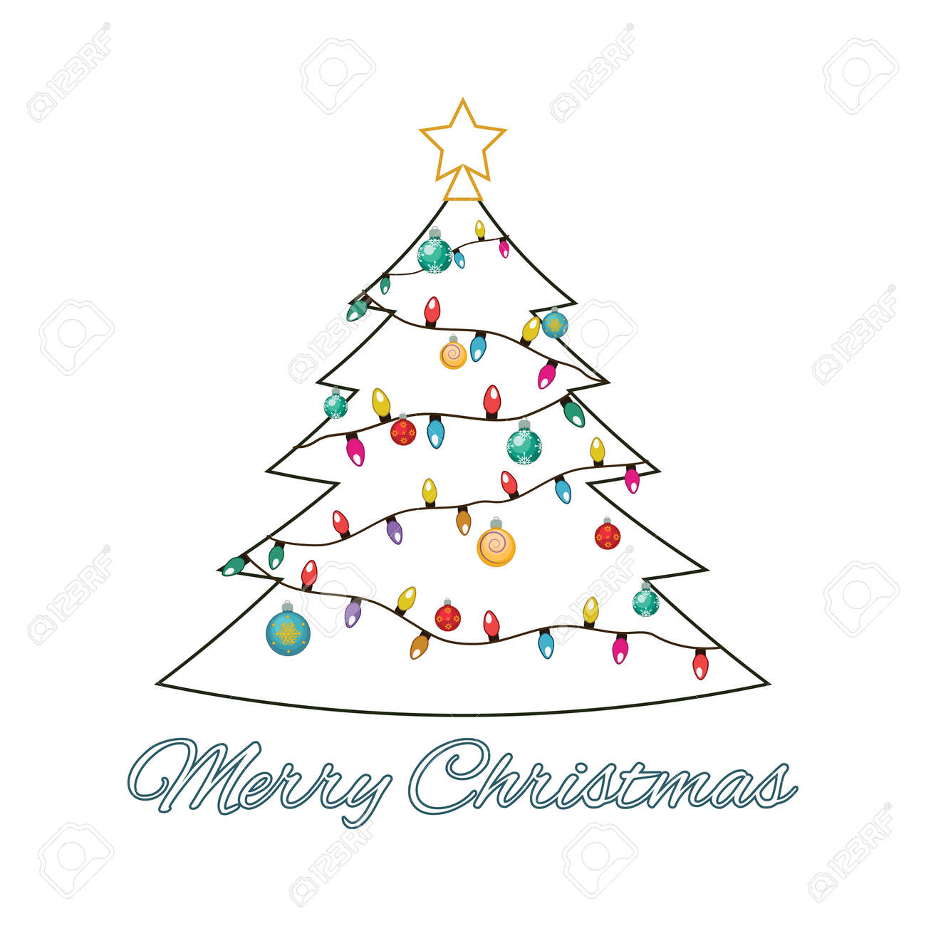 Illustration Of A Wireframe Christmas Tree With Ornaments Royalty ...