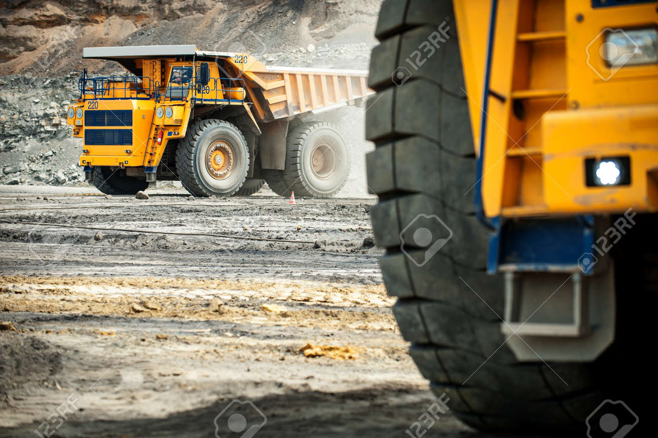 Siberia, Russia - June, 2015: Big yellow mining truck groundmoving in Russia. - 52122530