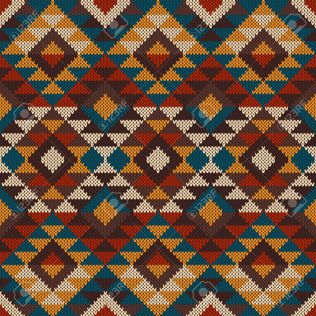 Seamless Tribal Knitted Wool Aztec Design Pattern Royalty Free ...