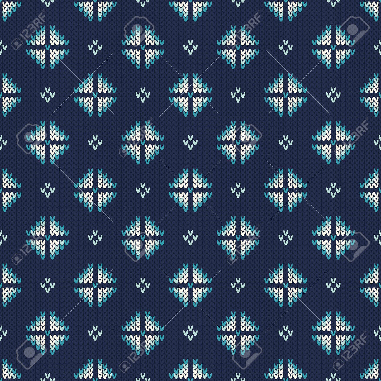 Winter Holiday Knitted Pattern With Snowflakes. Royalty Free ...