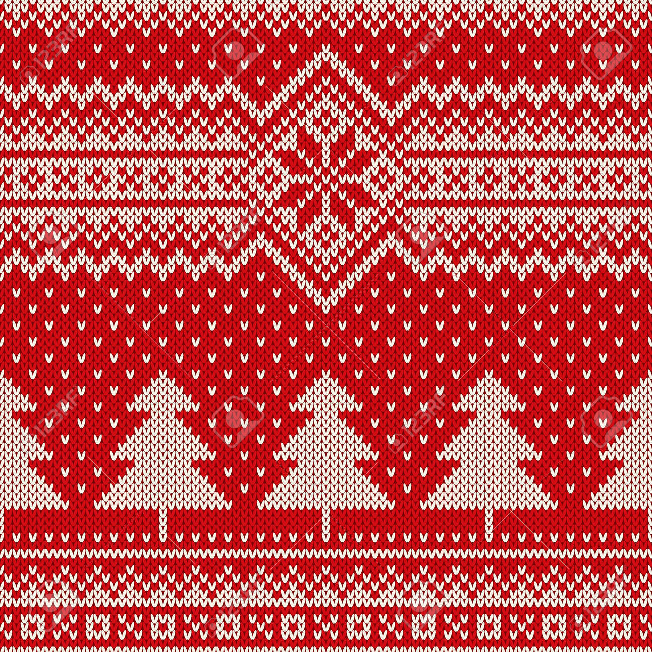 Christmas Sweater Pattern.Winter Holiday Seamless Knitting Pattern With A Christmas Trees
