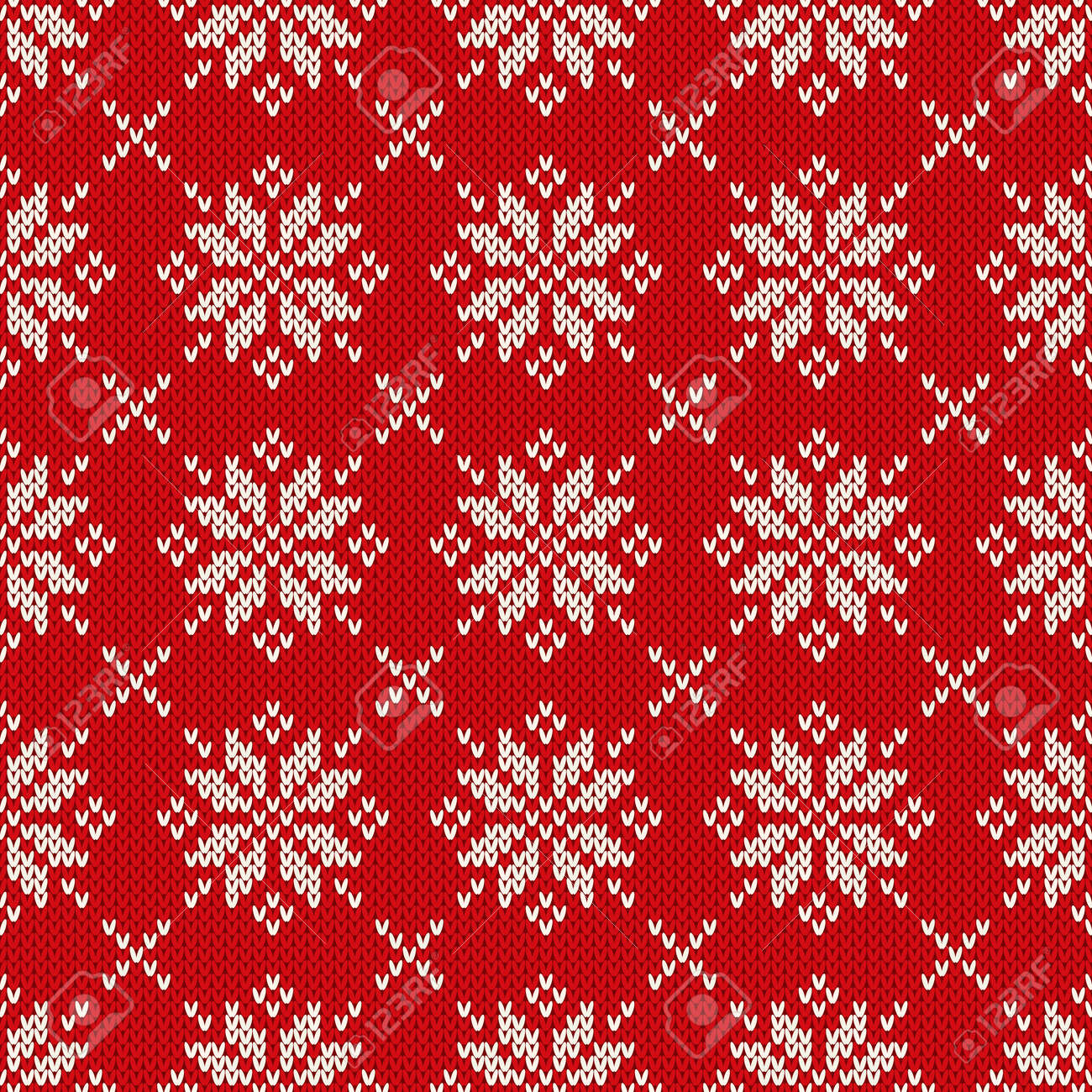 df671196e5b8d7 Vector - Winter Holiday Knitted Pattern with Snowflakes. Fair Isle Knitting  Sweater Design. Seamless Christmas and New Year Background