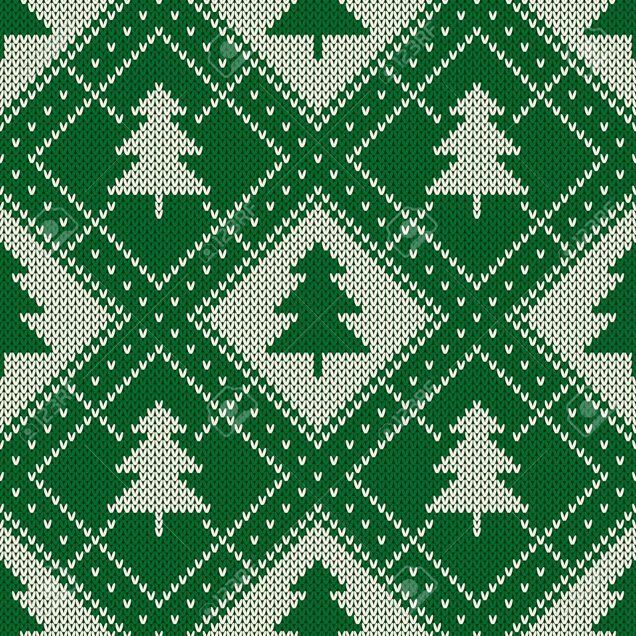 Winter Holiday Seamless Knitting Pattern With A Christmas Trees ...