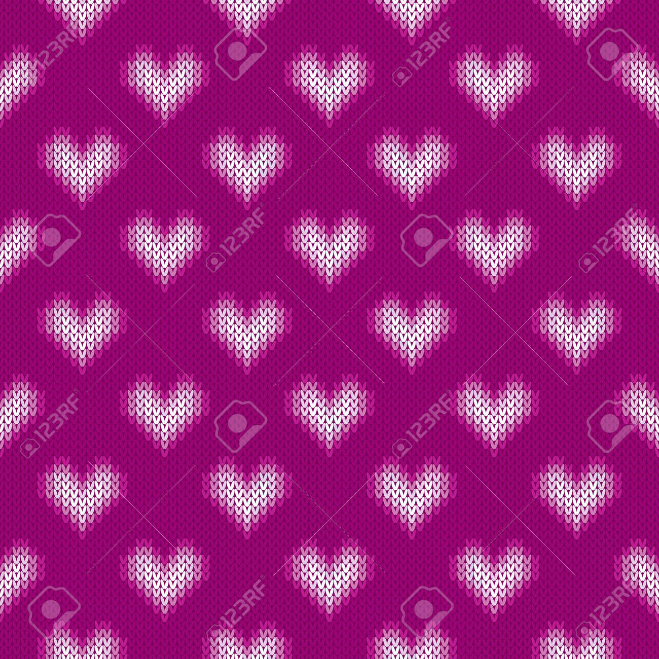14 February Knitted Pattern With Hearts. St Valentine\'s Day Seamless ...
