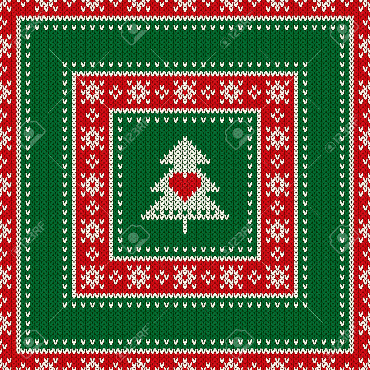 Winter Holiday Seamless Knitted Pattern With Christmas Tree And ...