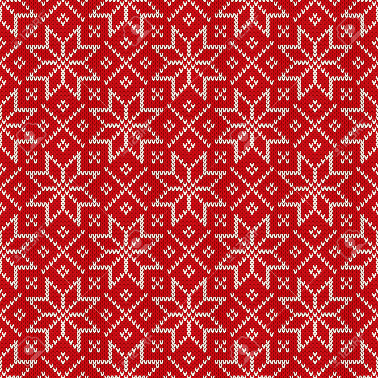 Christmas Seamless Knitted Pattern With Snowflakes. Christmas ...