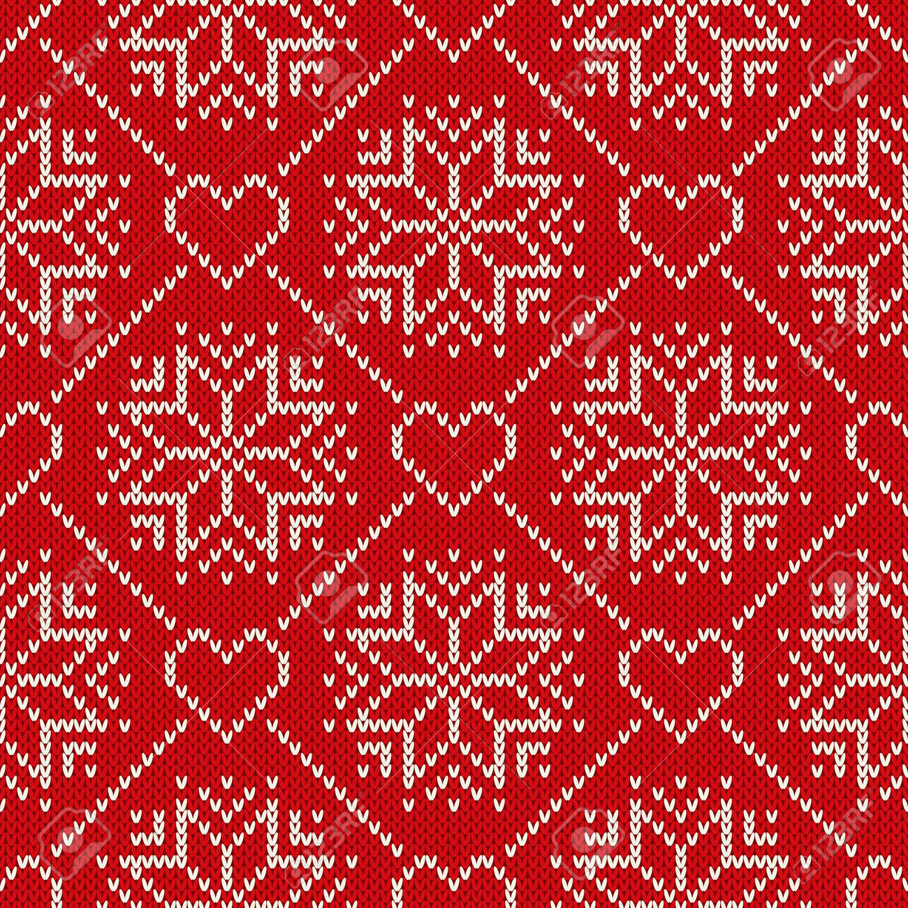 Christmas Holiday Knitted Pattern With Snowflakes And Hearts ...