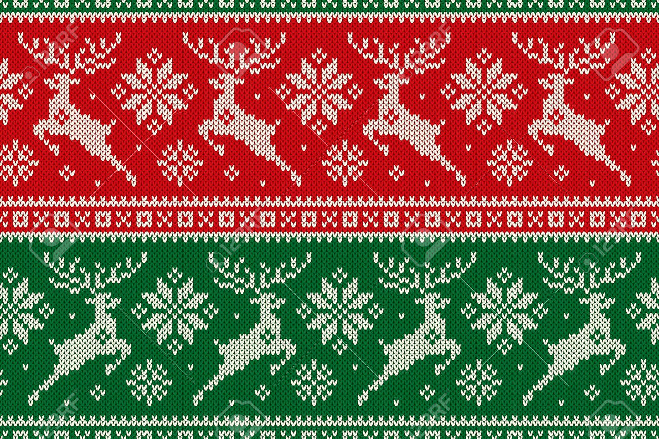 Christmas Seamless Knit Pattern With With Reindeer And Snowflakes ...