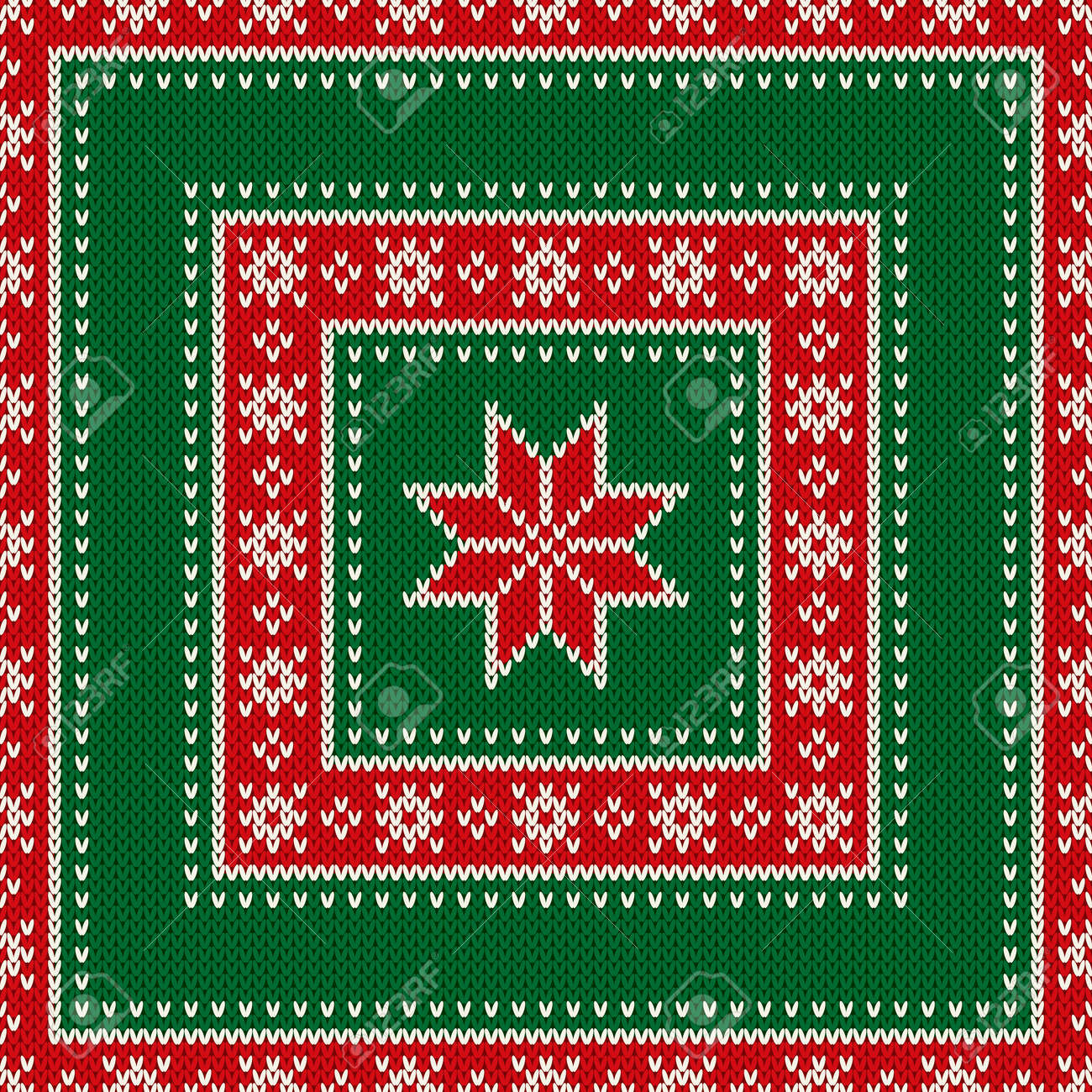 85f647d63501cf Vector - Winter Holiday Seamless Knitted Pattern with Snowflakes. Wool  Knitting Sweater Design. Fair Isle Knit Christmas and New Year Background.