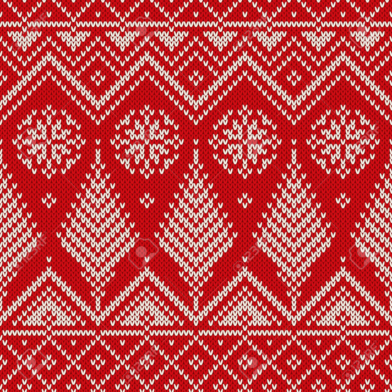 Christmas Seamless Knit Pattern With Snowflakes And Christmas ...