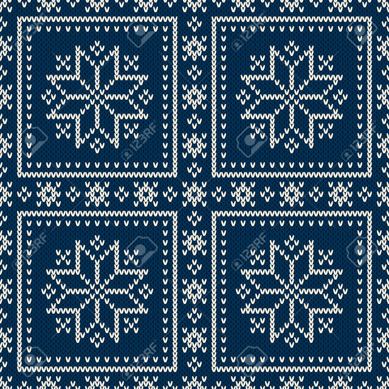 Christmas Holiday Knitted Pattern With Snowflakes. Knitting Sweater ...