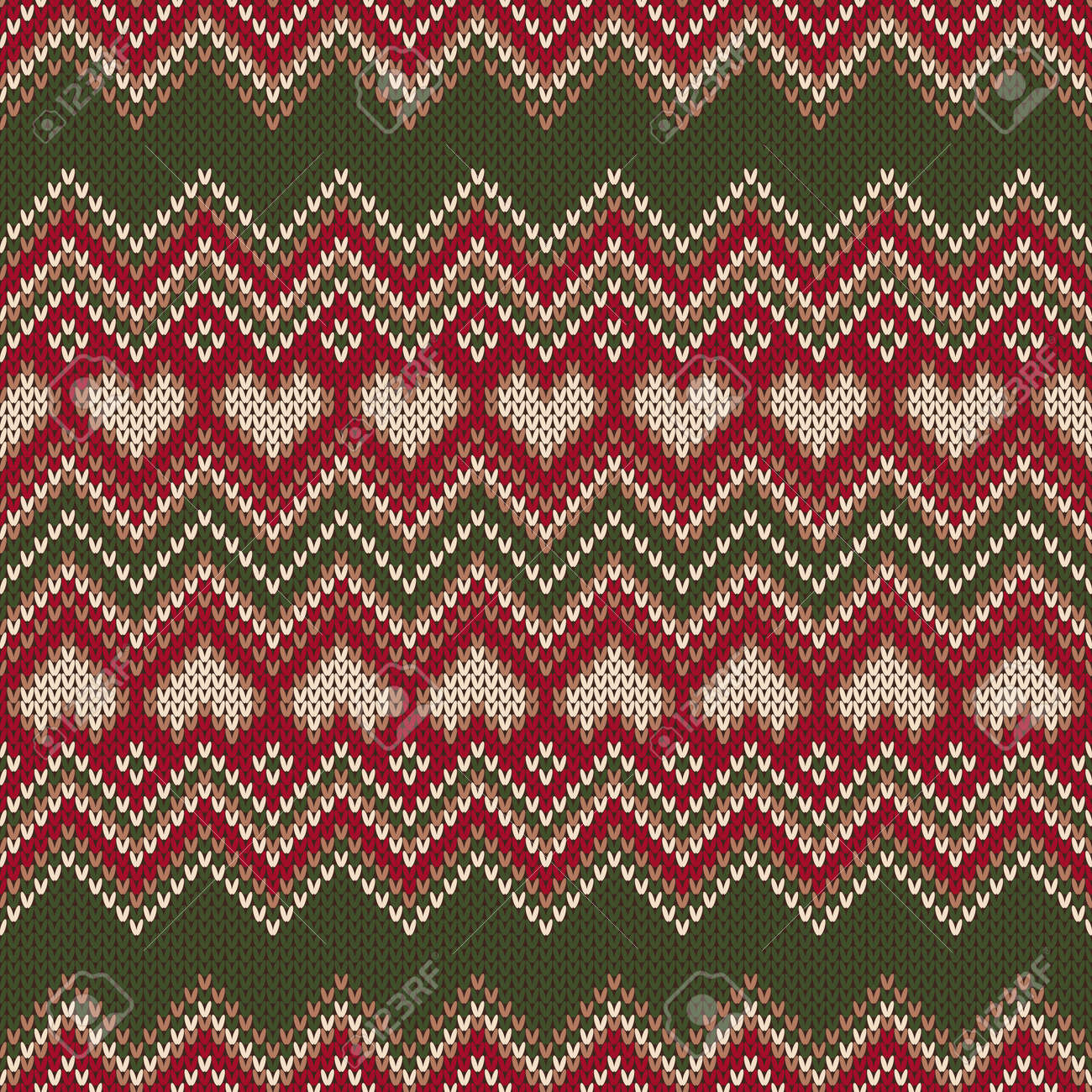 Valentine\'s Day Holiday Seamless Knit Pattern With Hearts. Scheme ...