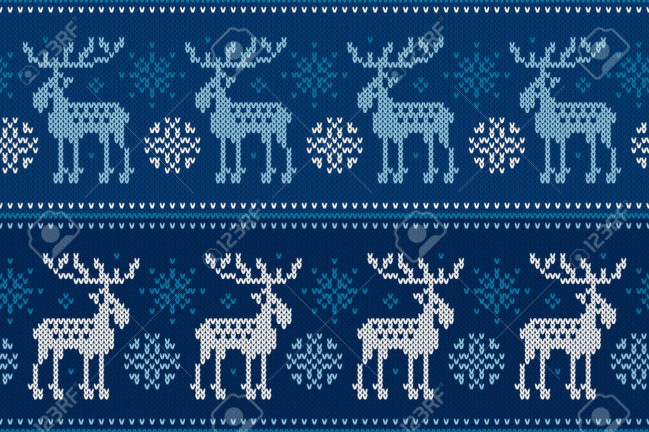 4cc299b735b51 Vector - Winter Holiday Seamless Knitted Pattern with Elks and Snowflakes. Knitting  Sweater Design. Wool Knitted Texture.