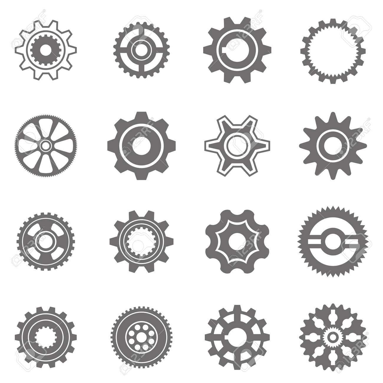 Set of gear wheels in black and white. By changing size, gears can be combined into mechanism. Stock Vector - 54510378