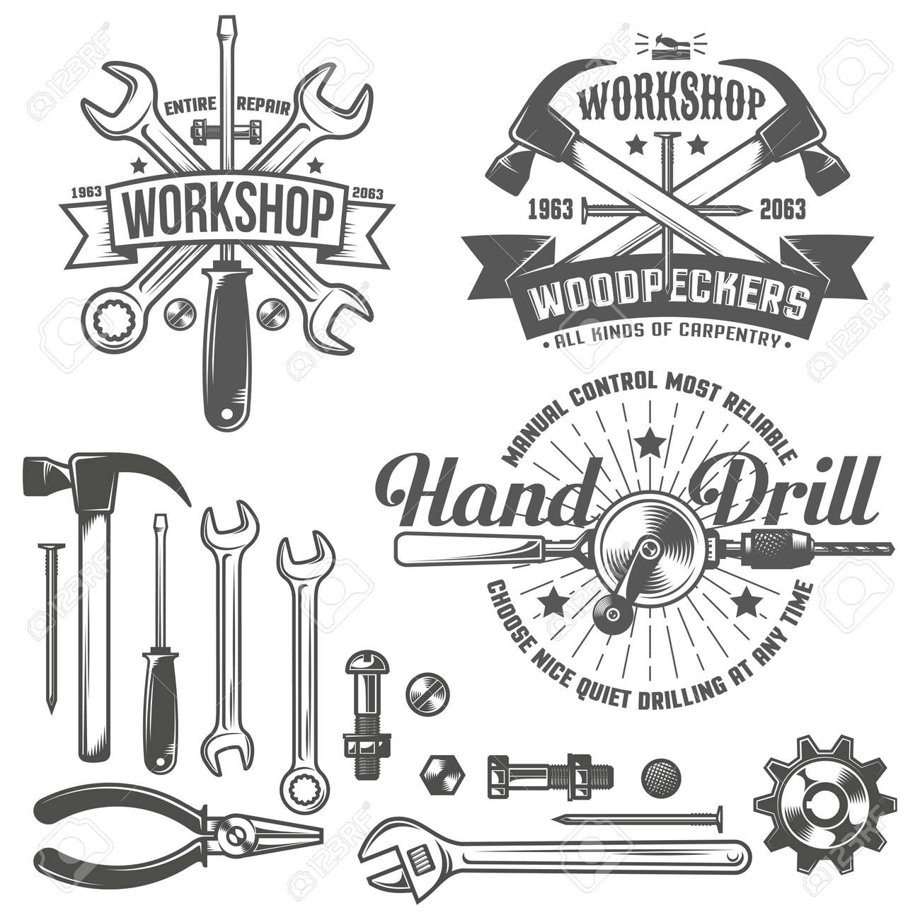 Vintage emblem repair workshop and tool shop in vintage style. Working tools. Text on a separate layer - easy to replace. - 55677324