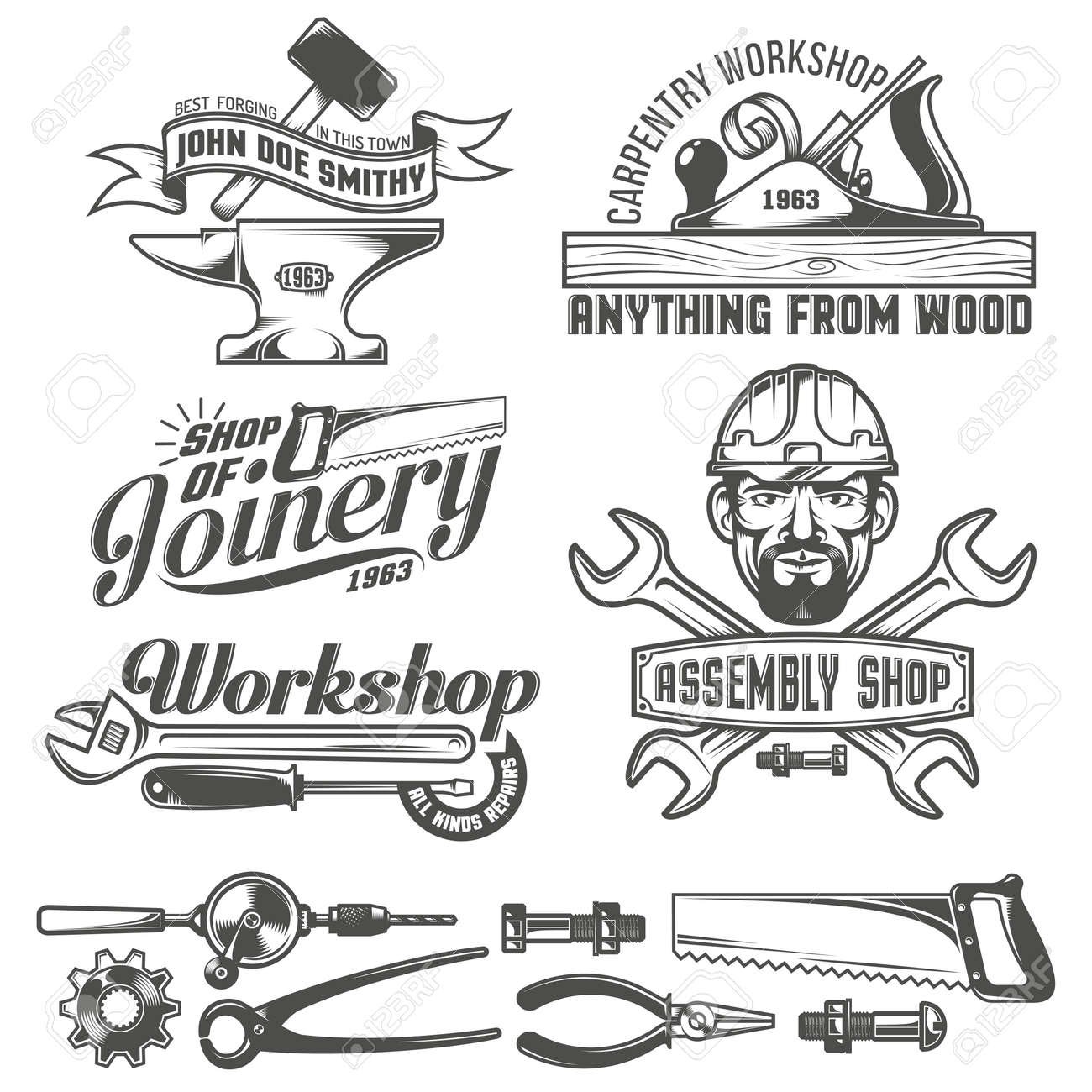 Logos with working tools. Emblems carpentry workshop, forge, assembly shop. Worker tools. Text on a separate layer - easy to replace. Stock Vector - 55677327