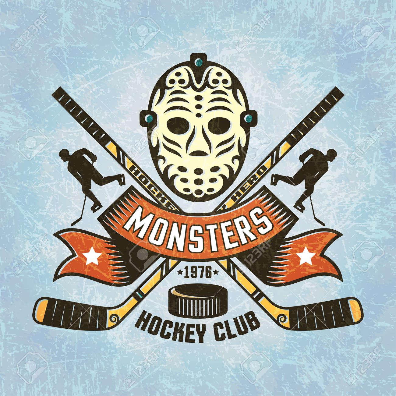 Logotipo Para El Equipo De Hockey - Máscara De Portero Retro Cruzó ...