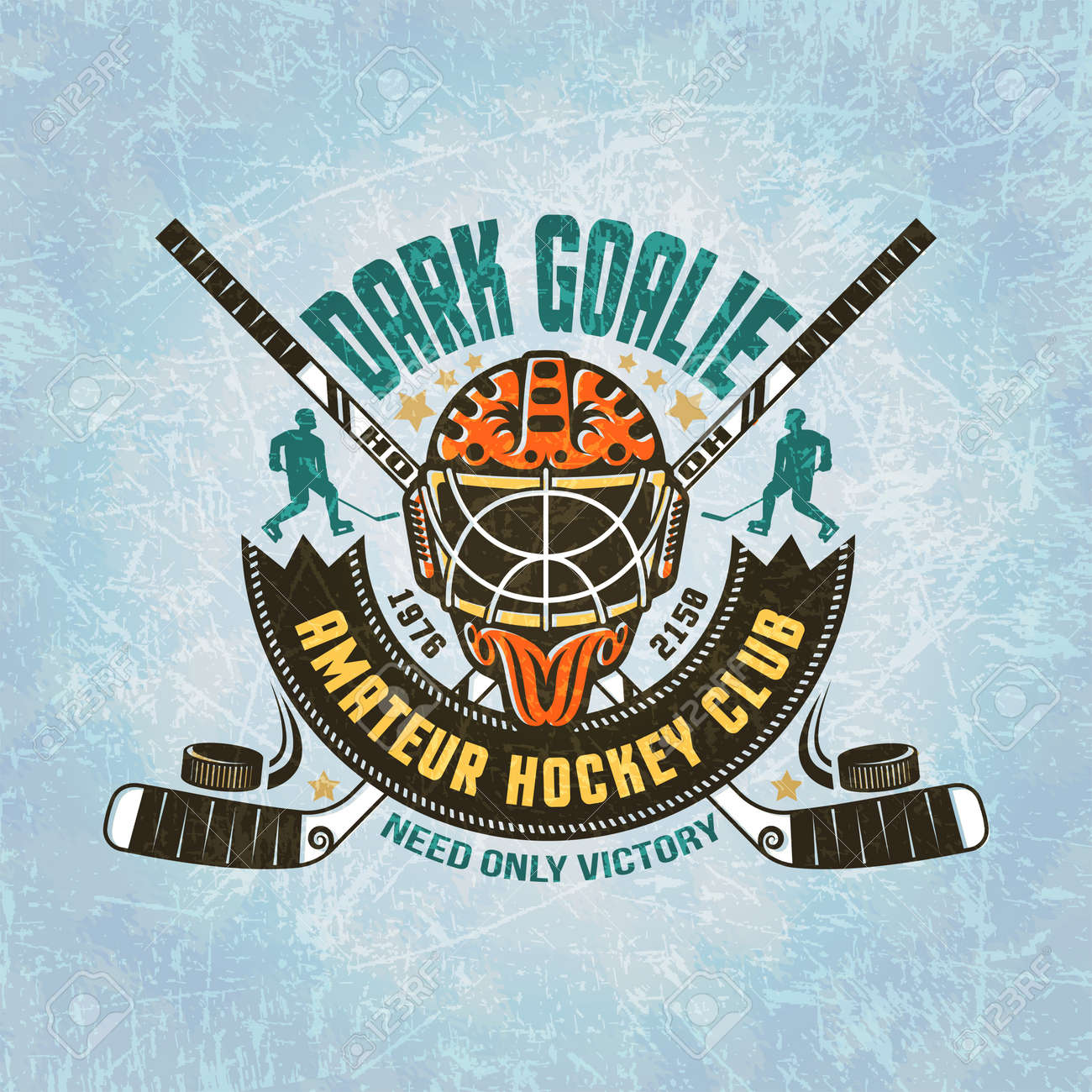 Emblem of hockey team - goalie mask, crossed hockey sticks, puck, hockey player silhouettes, vintage banner. Texture of ice on separate layers and easily disabled.Text can be removed. Stock Vector - 55677332