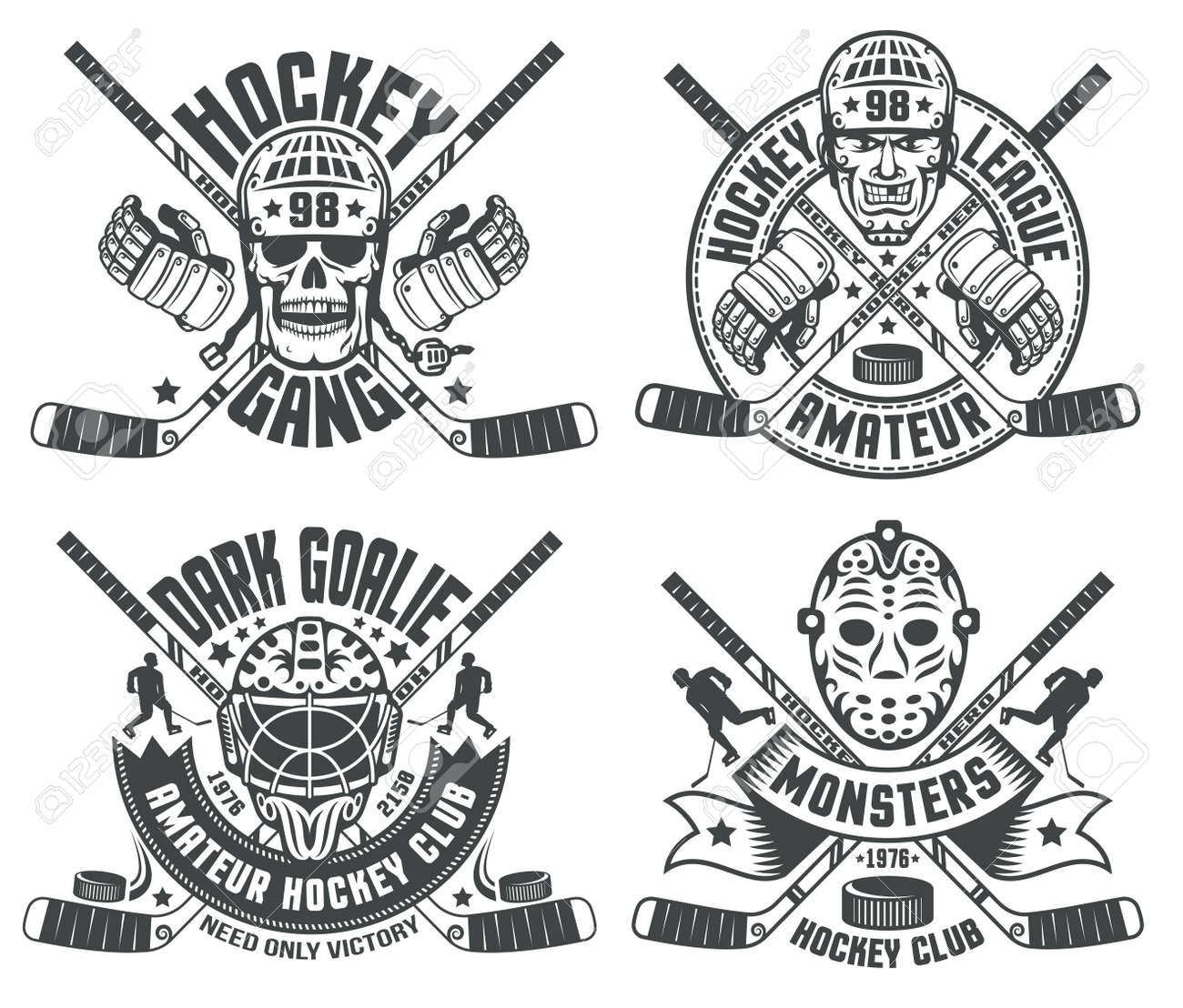 Hockey Logos With Helmets Goalie Masks Sticks Hockey Gauntlet
