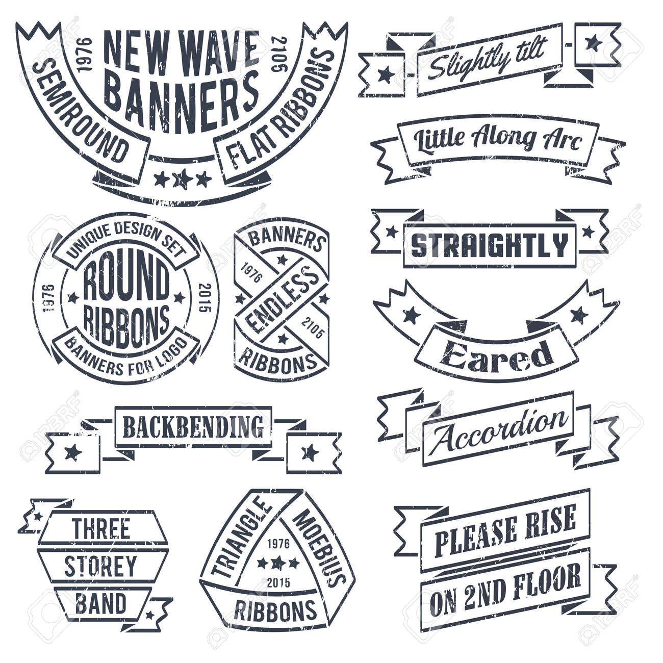 A set of shabby, grungy banners and ribbons in a retro style. Scratches on a separate layer - can be easily removed. - 55608373