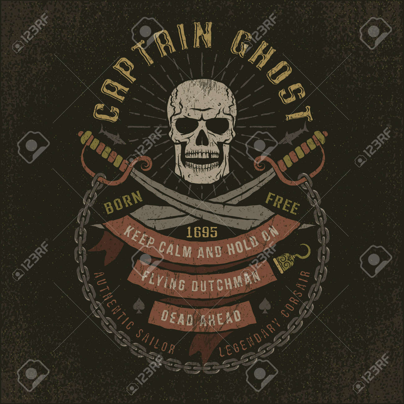 Emblem with a pirate skull in grunge style. Well suited to a T-shirt. Textures and text on separate layers. - 59766735
