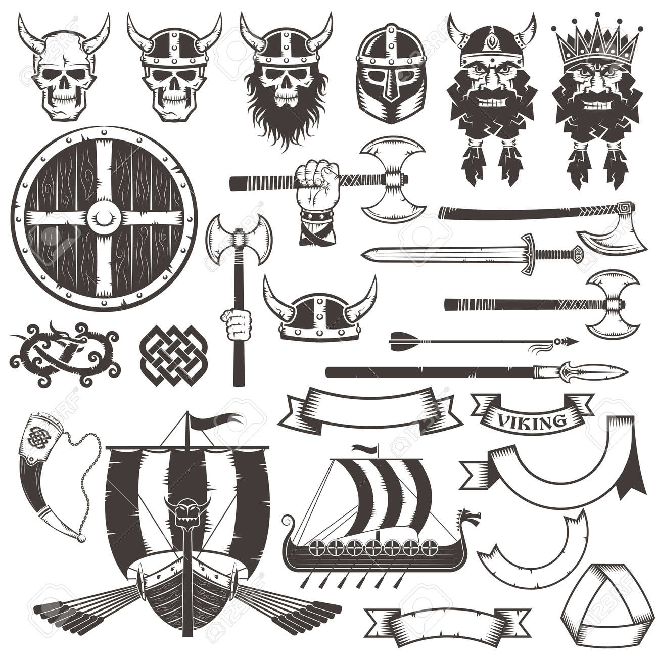 Set Of Viking Weapons And Items Royalty Free Cliparts Vectors And Stock Illustration Image 59766787