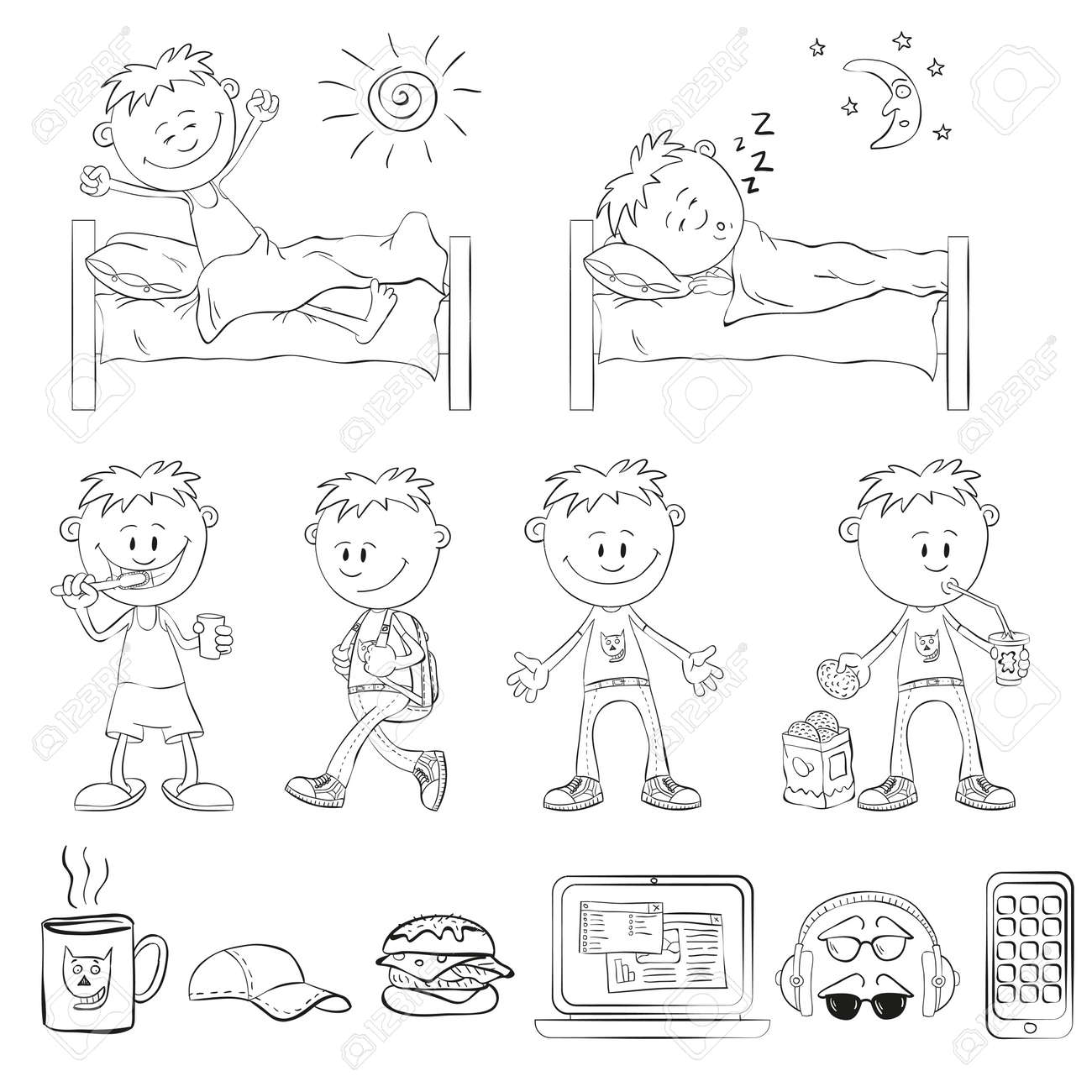 Boy draw the outline of a sketch style the boy wakes up sleeping in the bed boy brushing his teeth comes with a backpack drinking a cocktail with