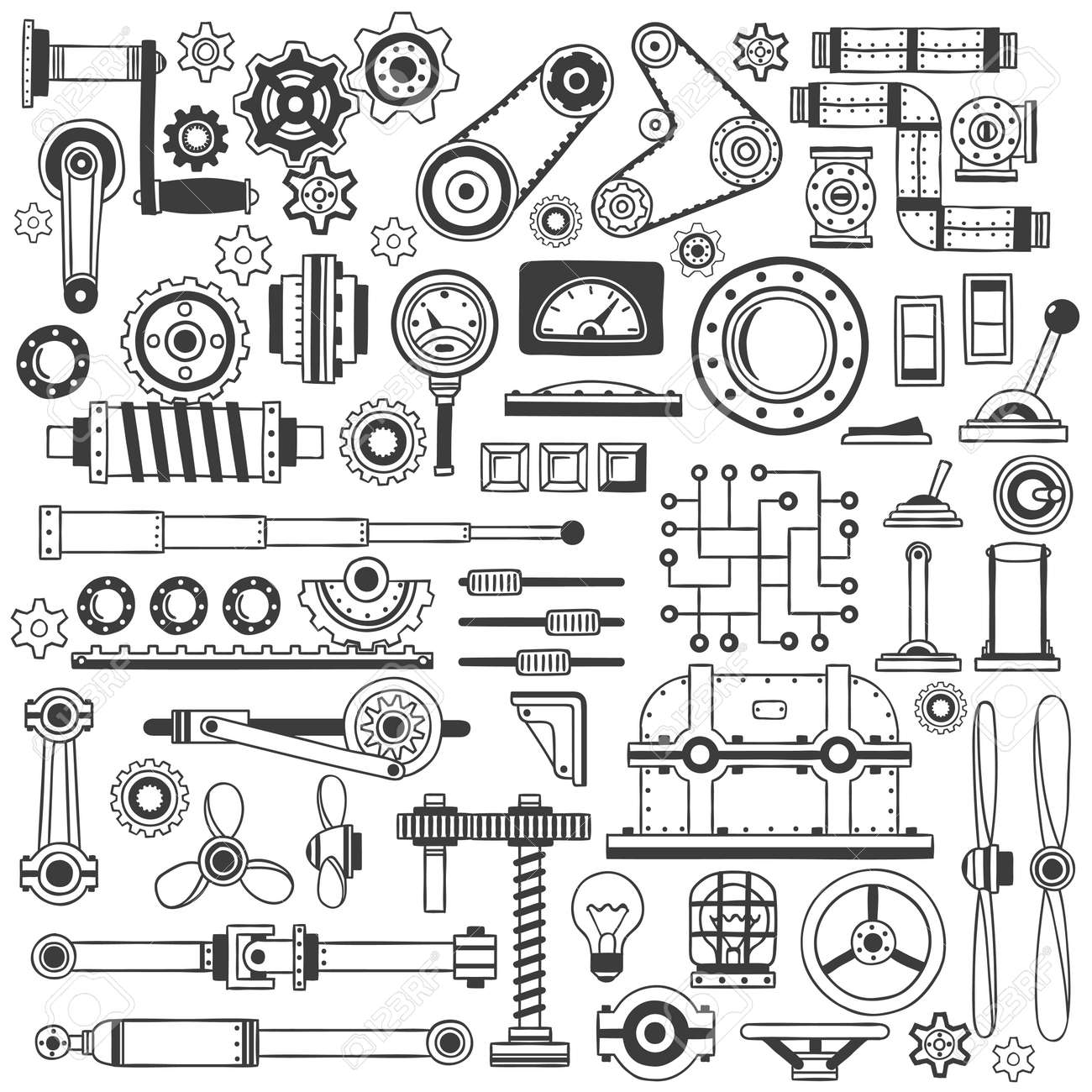 Set of industrial machine parts in doodle style. Suitable for construction machinery. Stock Vector - 63745410