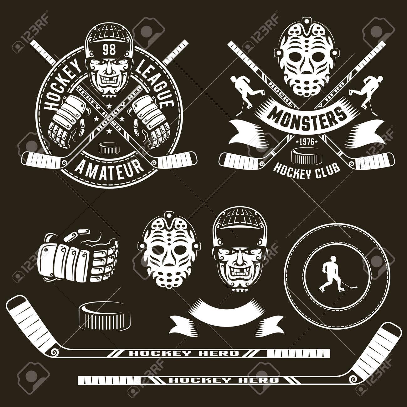 Hockey Logos Player Head Goalie Mask Crossed Sticks And Hockey