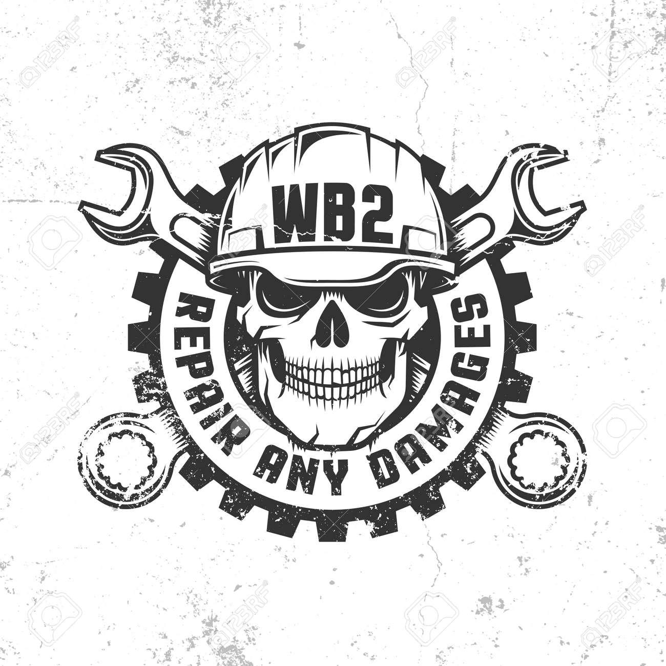 Logotipo Retro Del Taller Mecánico De La Reparación Con El Cráneo En ...