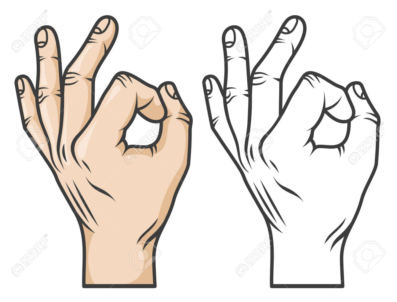 hand gesture ok or zero comics cartoon style black and white royalty free cliparts vectors and stock illustration image 70373745 123rf com