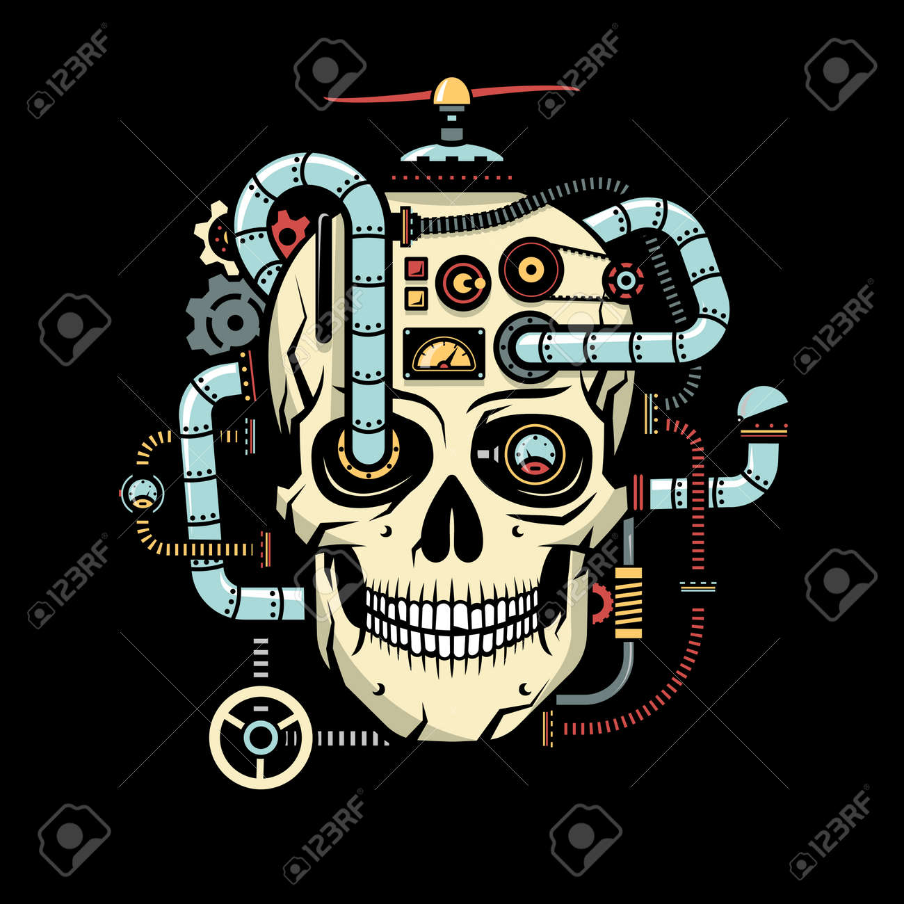 skull with implanted steampunk elements pipes cables devices