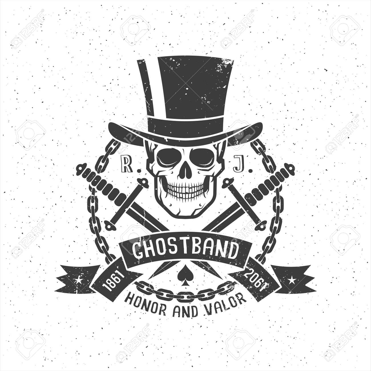 Hipster Retro Tattoo Logo With Skull In Cylinder Hat With Daggers