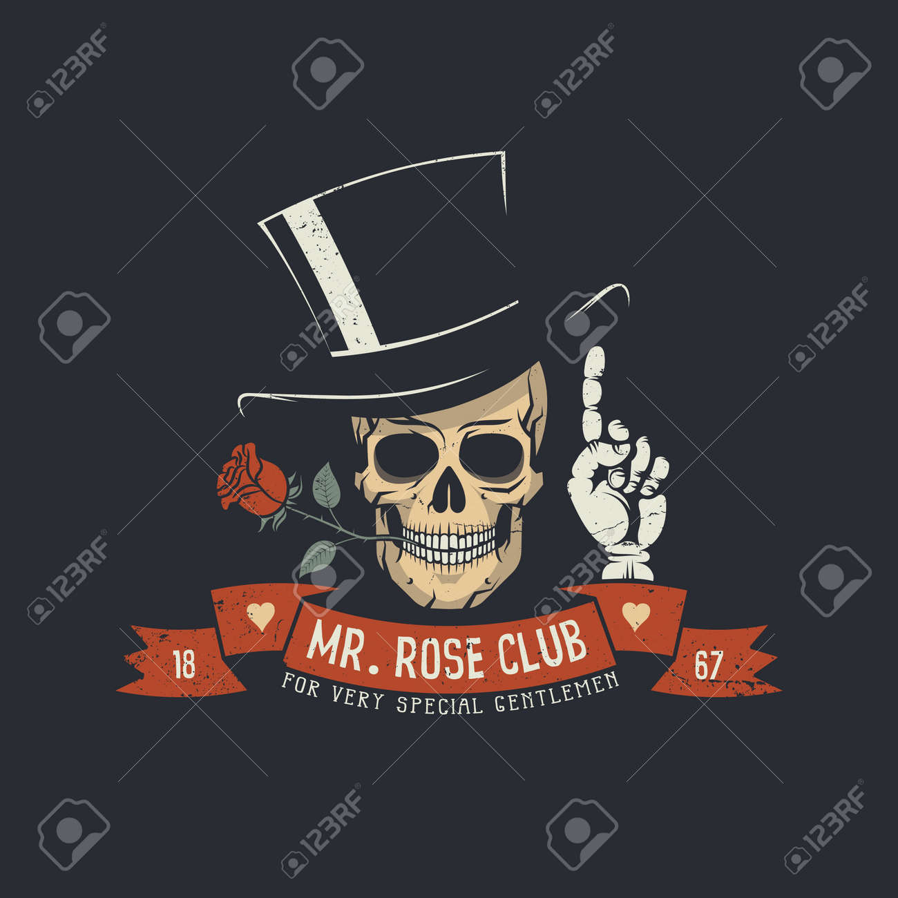 Skull with rose flower and classic head with ribbon and Mr. Rose club words. - 80348106