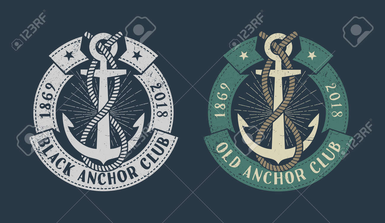 Vintage marine logo with anchor, banner and inscriptions. Monochrome and color versions on dark background. Worn texture on separate layer and can be disabled. Stock Vector - 85127759