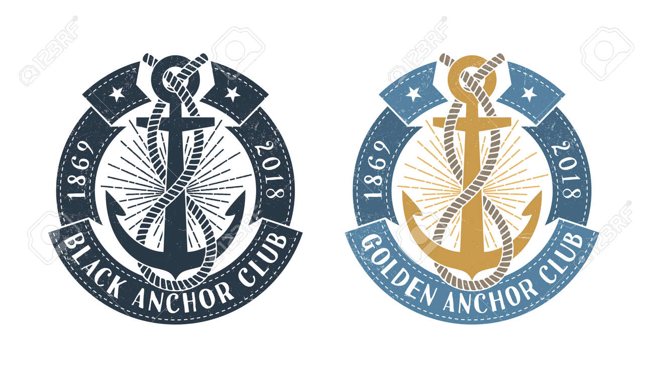Hipster sea emblem with anchor, rope and  round ribbon with inscription. Monochrome and color options. Worn texture on a separate layer and can be disabled. Stock Vector - 85127762