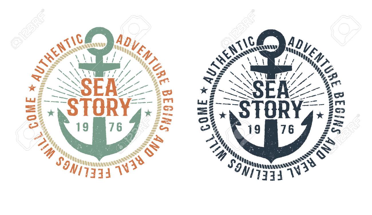 ビンテージ海洋白黒および色版のアンカー 碑文の海物語とタトゥー